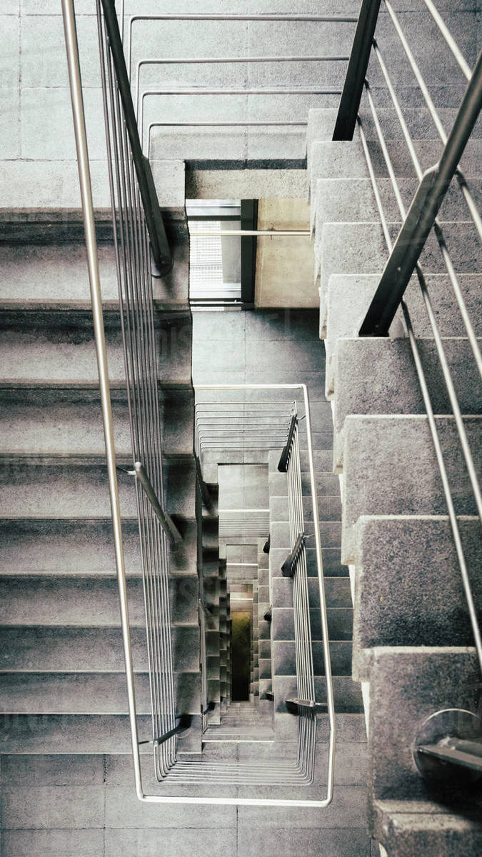 View From Above Concrete Stairs Stock Photo Dissolve