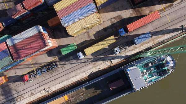 Directly above shot of cargo containers at commercial dock Royalty-free stock video