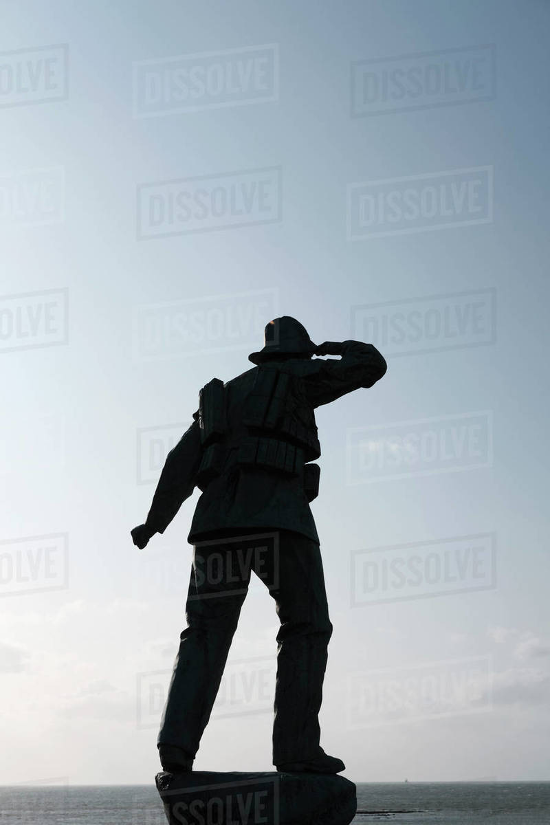 Lifeboat Memorial, soldier statue, Margate, England Royalty-free stock photo