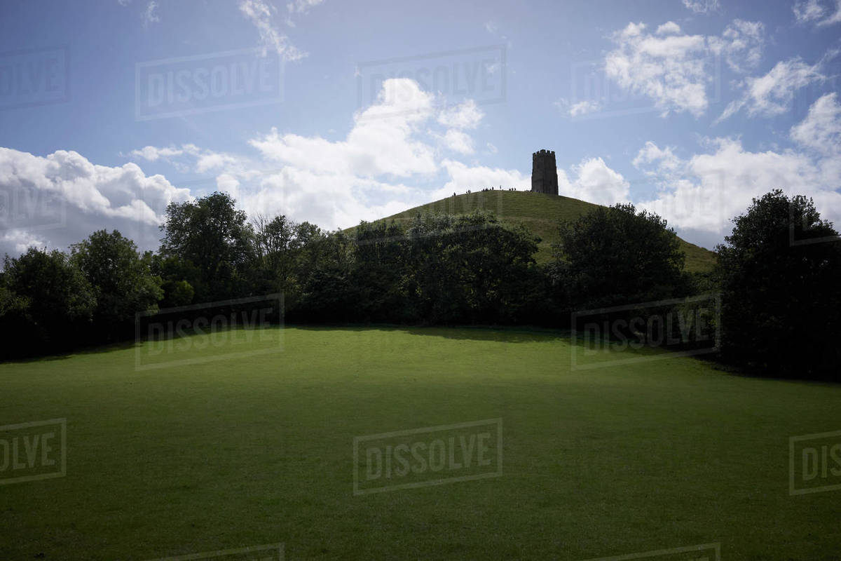 Idyllic view Glastonbury Tor on rural hilltop, Glastonbury, England Royalty-free stock photo