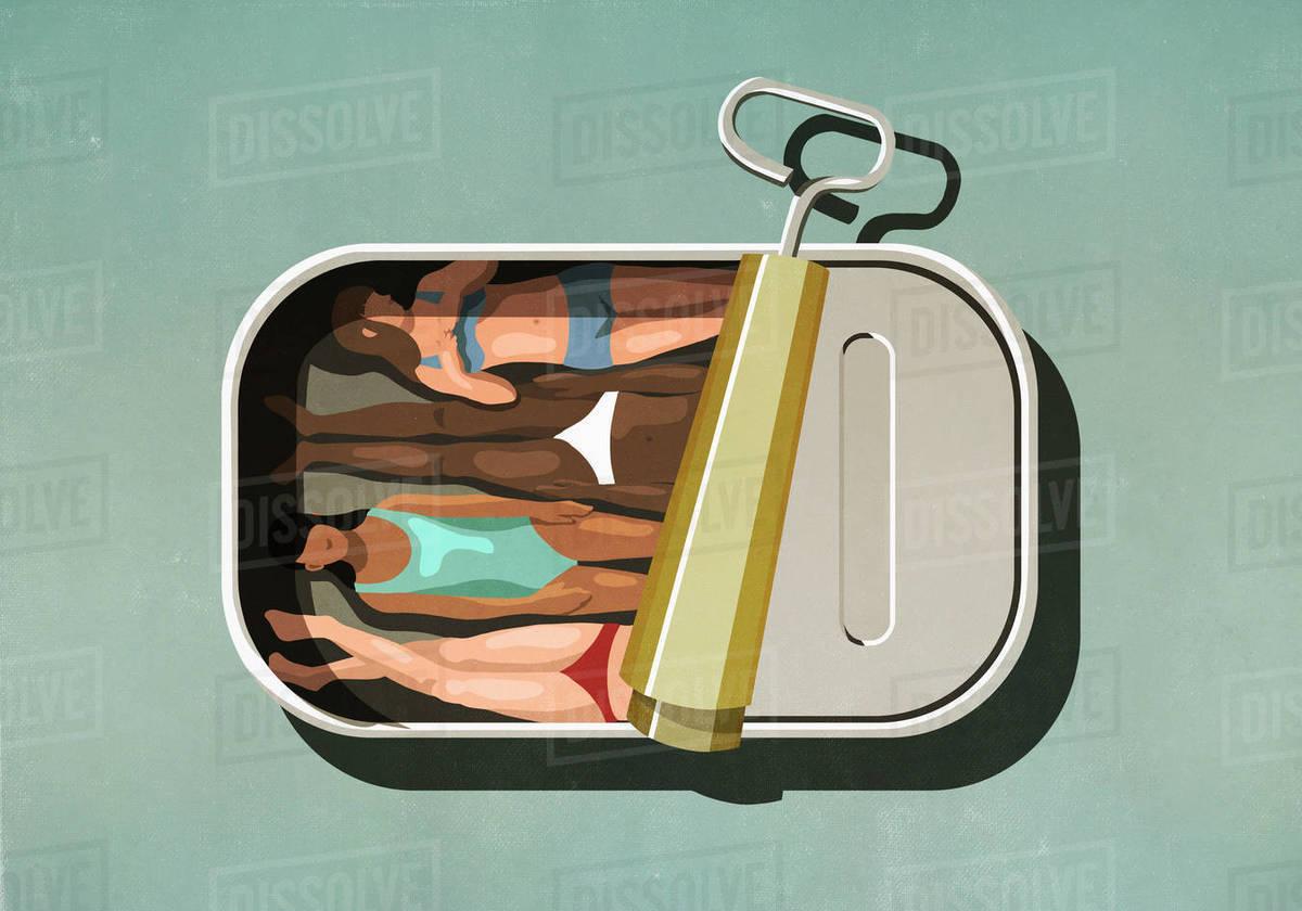 Women sunbathing inside sardine can Royalty-free stock photo