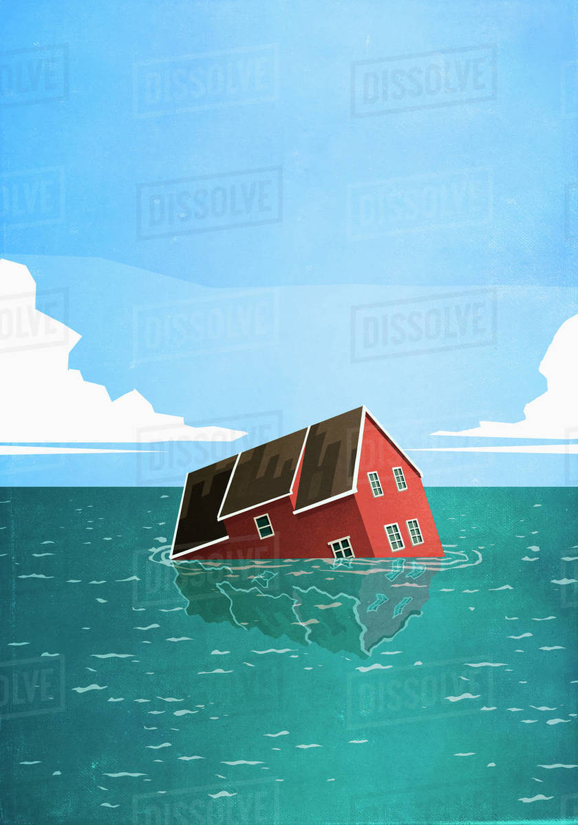 House sinking in sea Royalty-free stock photo