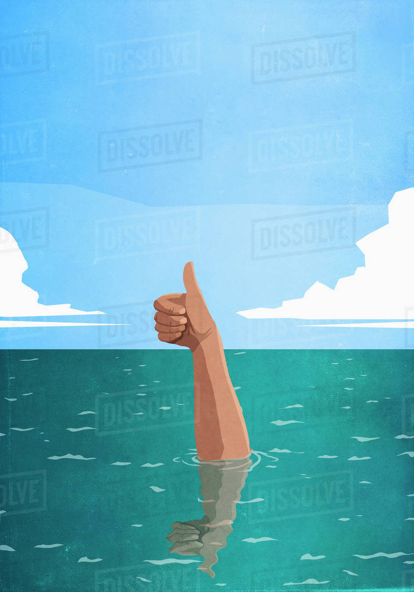Sinking hand gesturing thumbs-up in sea Royalty-free stock photo