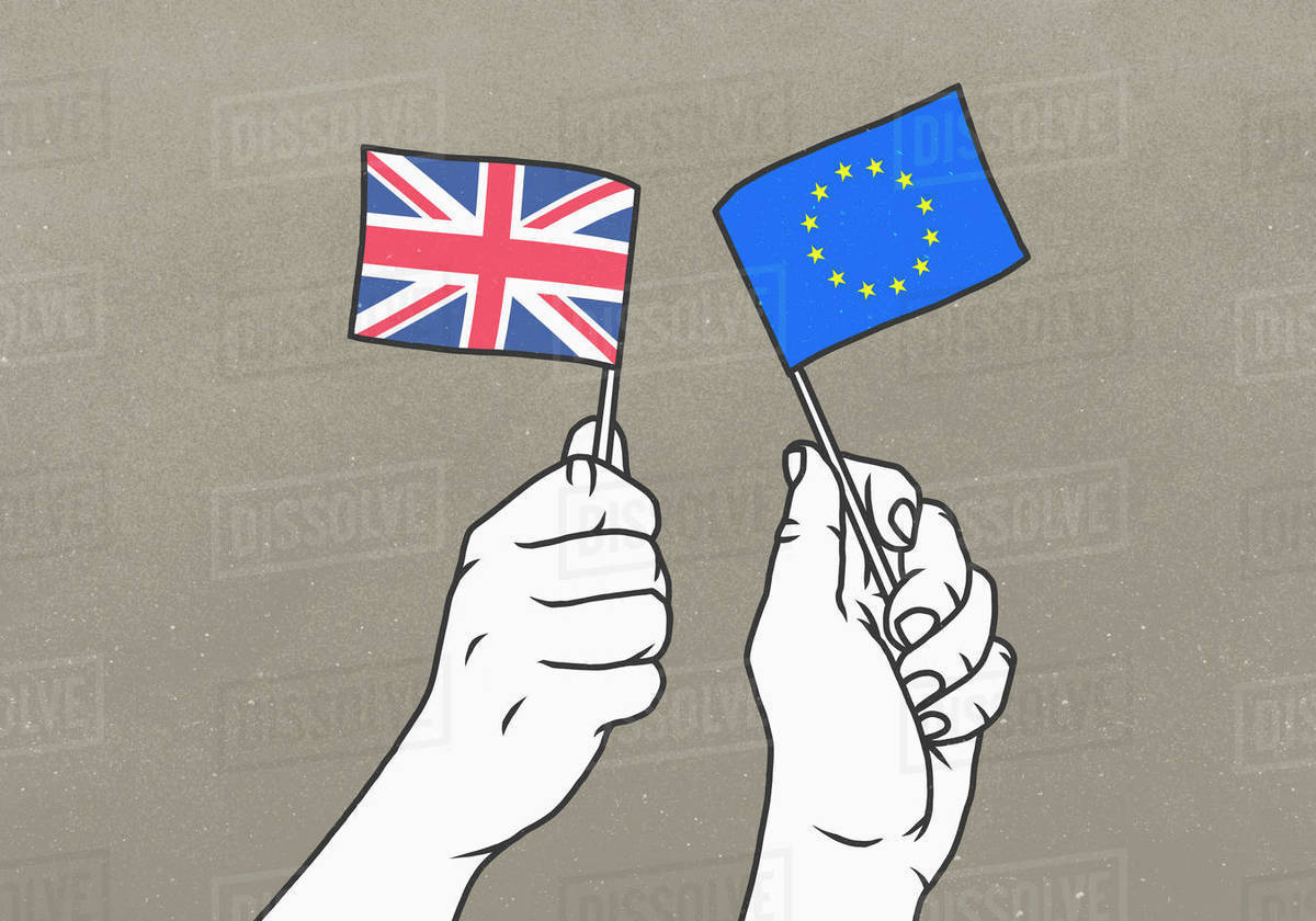 Hands waving small British and European Union flags Royalty-free stock photo