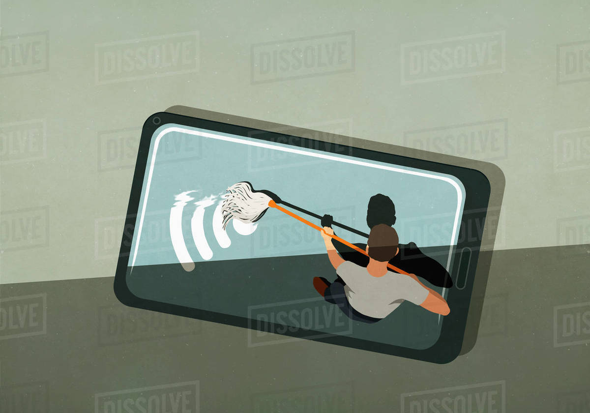 Man mopping wifi symbol on smart phone screen Royalty-free stock photo