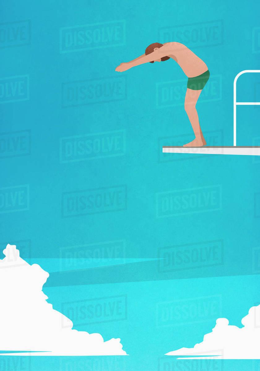 Man preparing to dive off platform Royalty-free stock photo