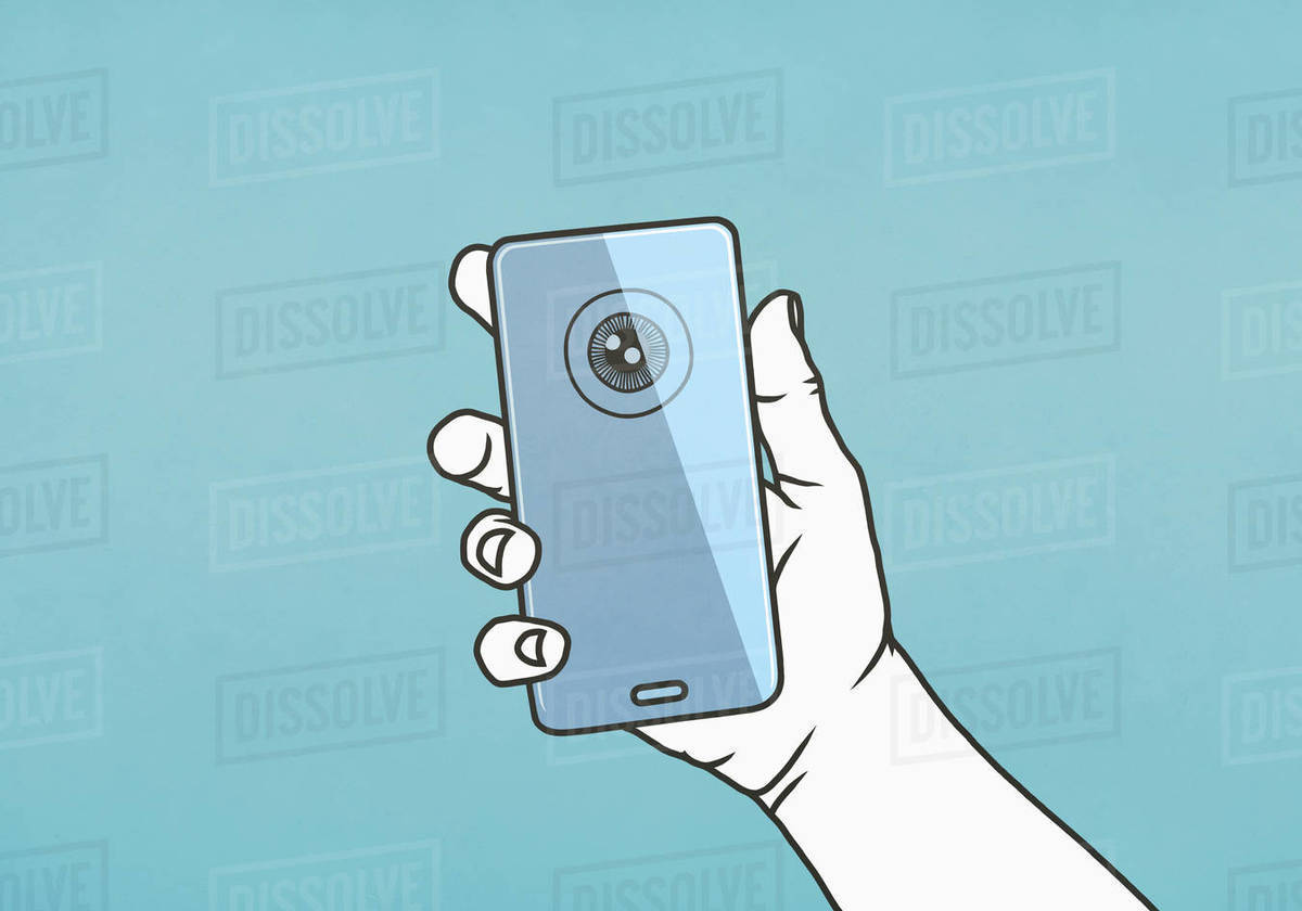 Hand holding smart phone with retina scan Royalty-free stock photo
