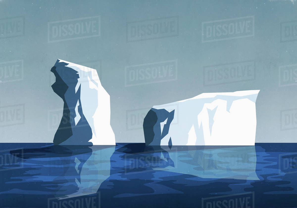 Icebergs in sea Royalty-free stock photo