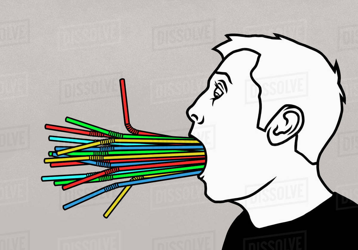 Bunch of plastic, multicolor straws stuffed in mans mouth Royalty-free stock photo