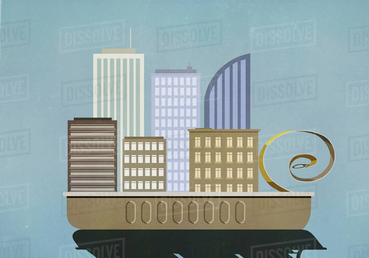 Cityscape emerging from sardine can Royalty-free stock photo