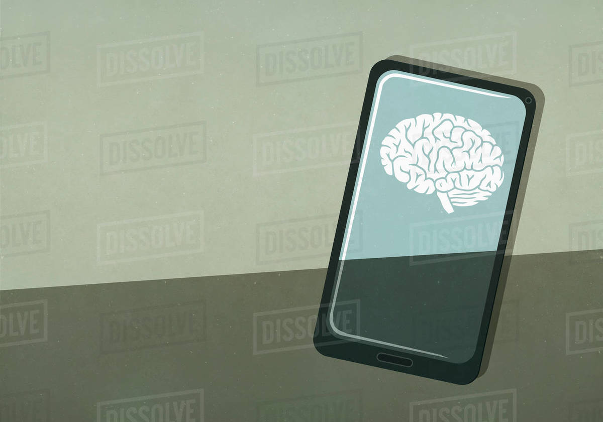 Brain image on smart phone screen Royalty-free stock photo