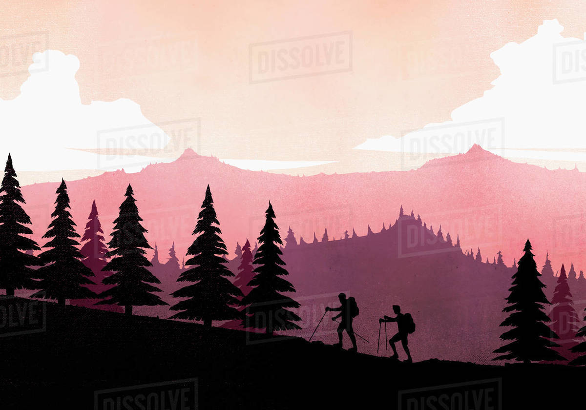 Silhouette backpackers with hiking poles ascending mountain slope Royalty-free stock photo