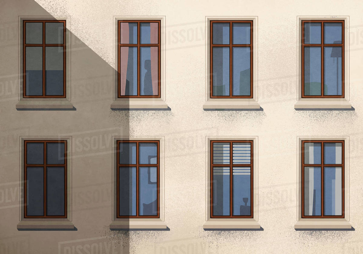 Shadow over apartment building with windows Royalty-free stock photo