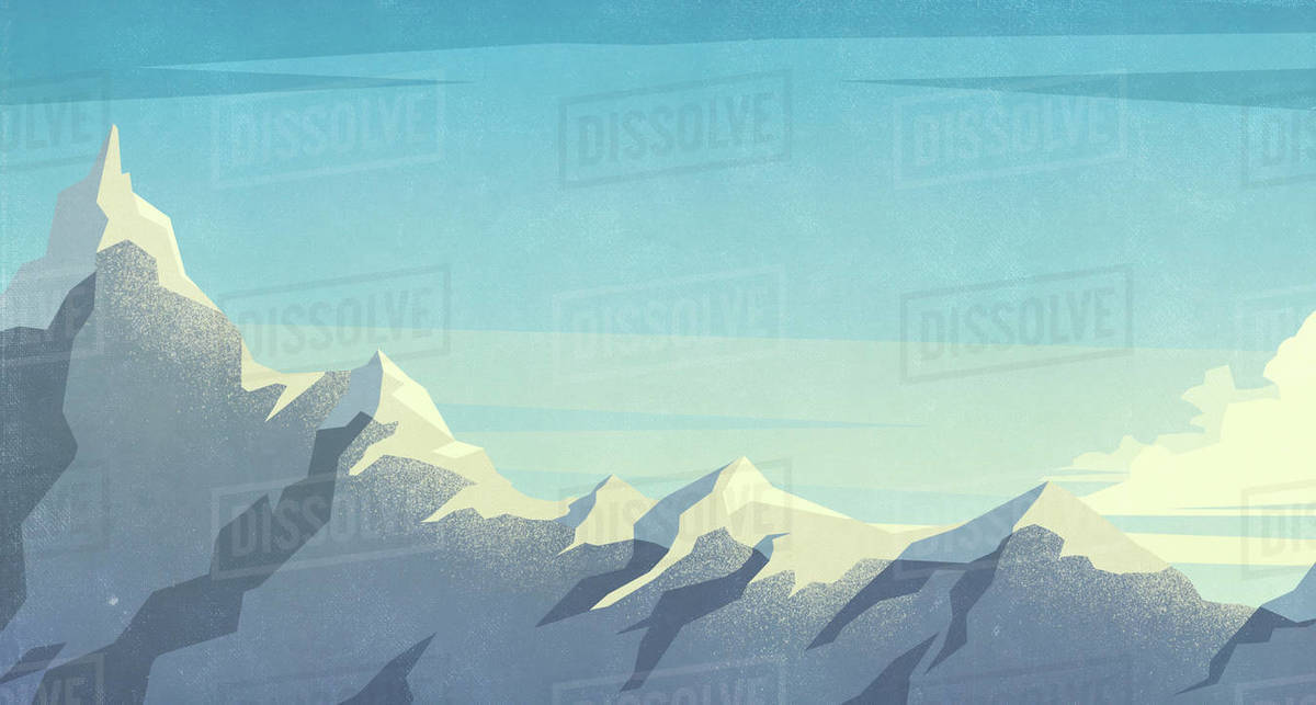 Scenic view snowy mountaintop Royalty-free stock photo
