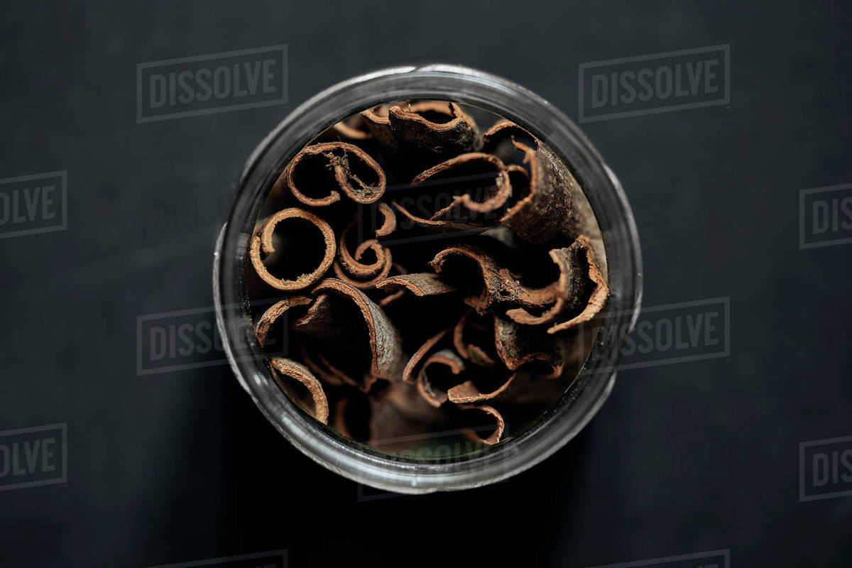 View from above cinnamon sticks in spice jar Royalty-free stock photo