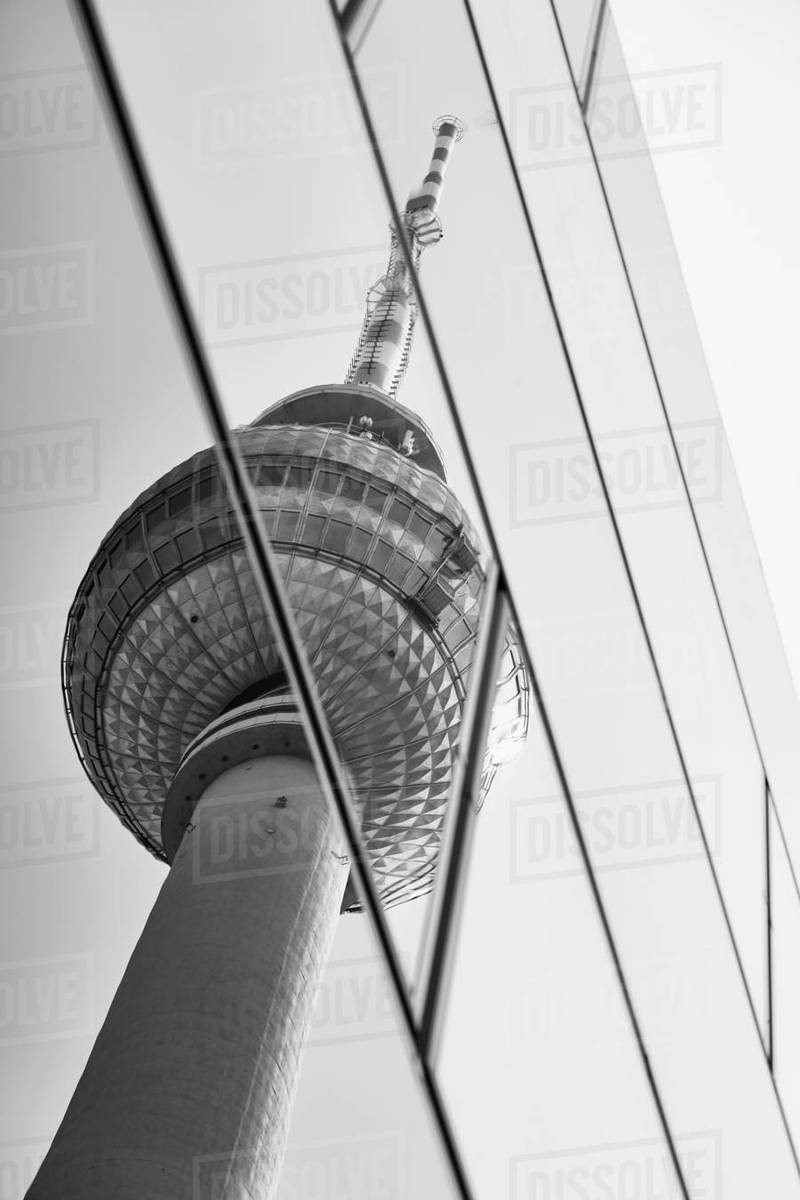 Reflection of Television Tower on glass highrise windows, Berlin, Germany Royalty-free stock photo