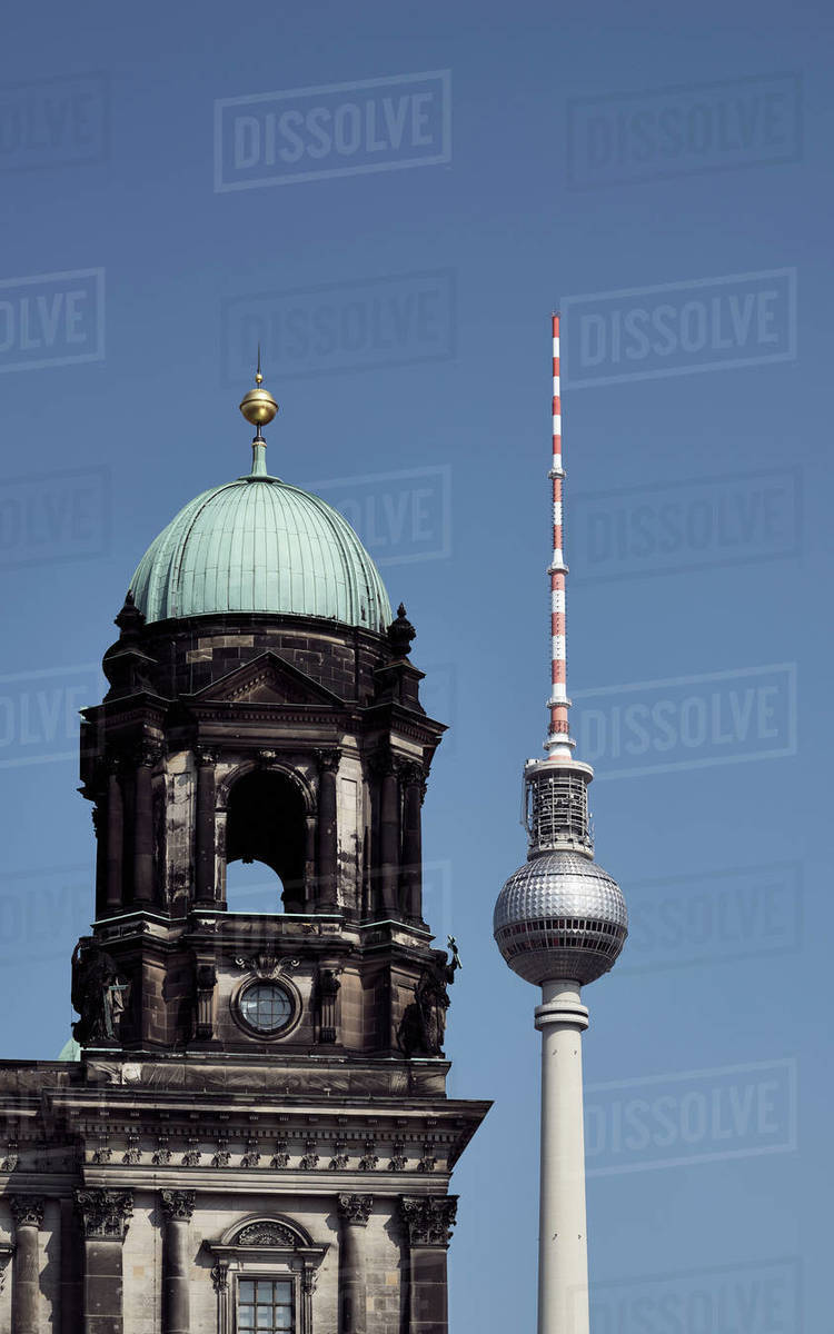 Television Tower and Berlin Cathedral against sunny, blue sky, Berlin, Germany Royalty-free stock photo