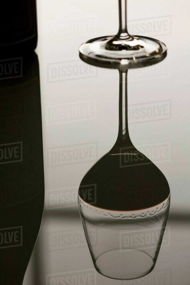 Reflection red wine glass Royalty-free stock photo