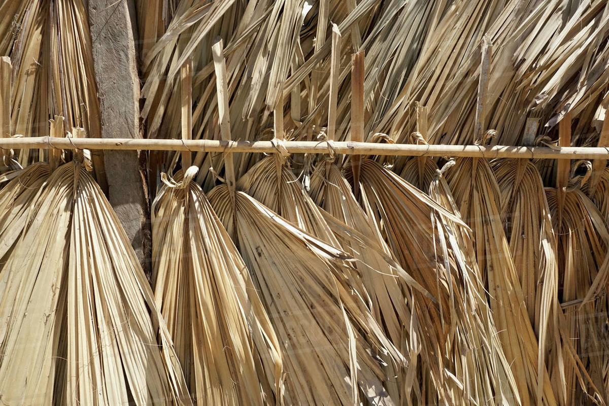 Close up palm leaf roofing Royalty-free stock photo