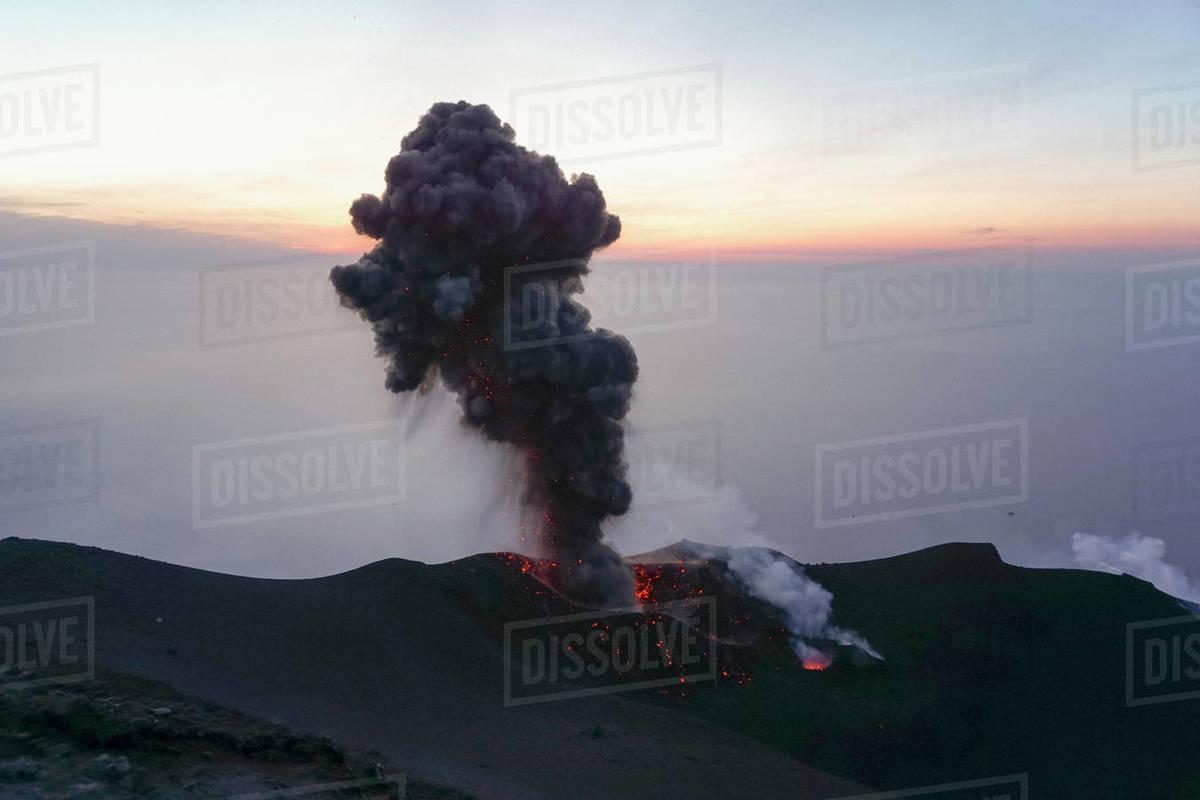 Ash plume and lava, Mount Etna, Stromboli, Sicily, Italy Royalty-free stock photo