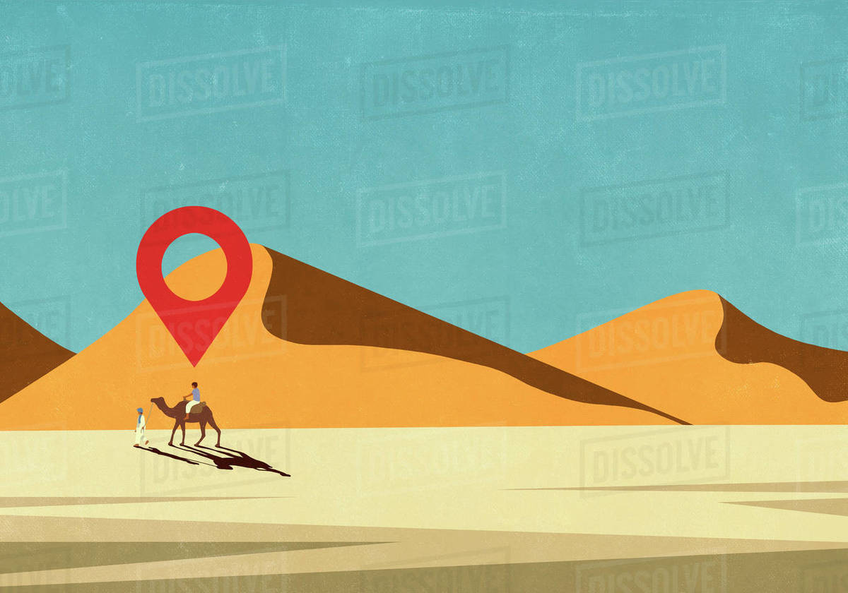 Map pin icon above man riding camel in desert Royalty-free stock photo