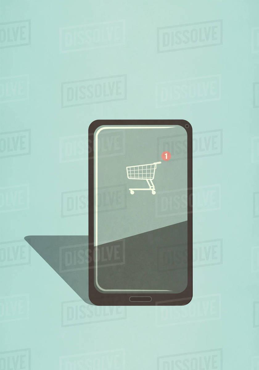 Shopping cart app on smart phone screen Royalty-free stock photo