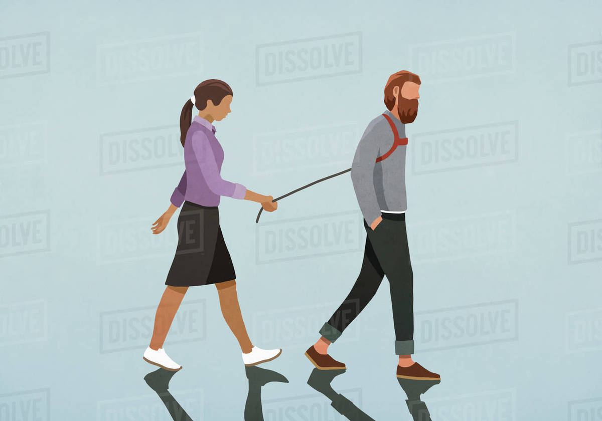 Woman walking man with harness Royalty-free stock photo