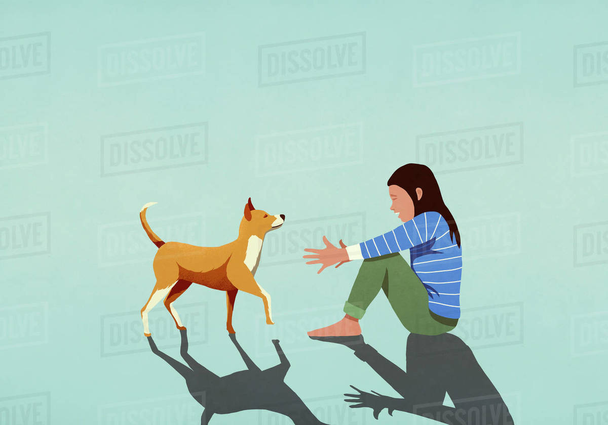 Dog walking toward woman with arms outstretched Royalty-free stock photo