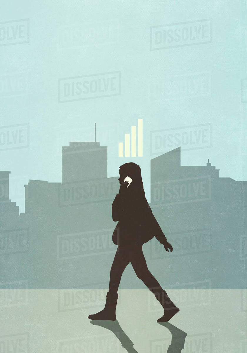Cellular reception bars above businesswoman walking and talking on smart phone in city Royalty-free stock photo