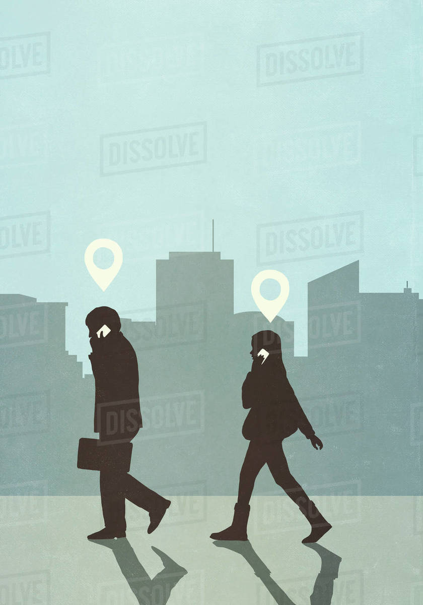 Map pin icons above business people walking and talking on smart phone in city Royalty-free stock photo
