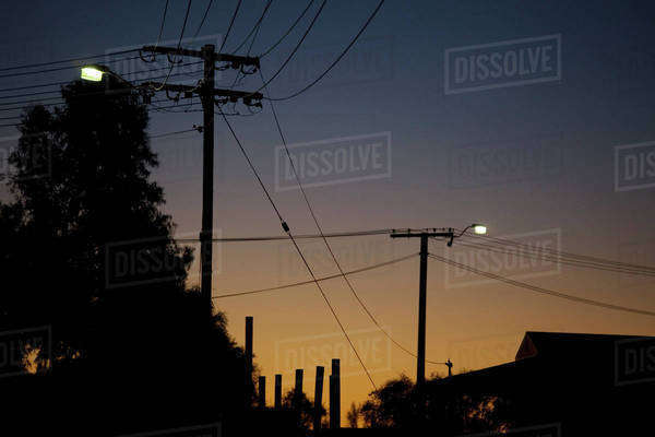 Silhouetted utility poles and roof of a building at dusk Royalty-free stock photo